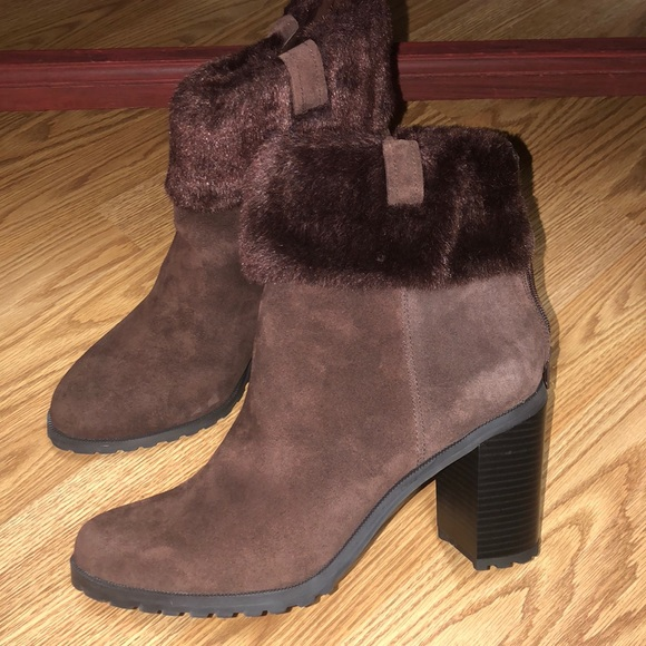 H by Halston qvc suede stacked booties brown fur 1f107aadc6284